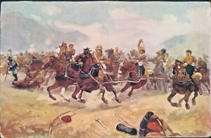 Postcard-Art-Maiwand-Saving-The-Guns-R-C-Woodville-Walker-Gallery-posted-1911