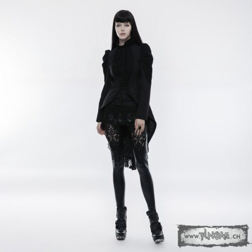 Punk Rave Luxury Solid Black Frock /& Victorian Lace Jacket Coat for Gothic Women