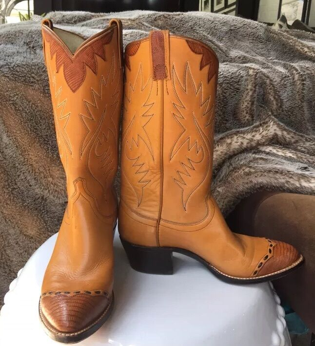 Vintage Tan Leather Boots By Dan Post With Lizard Skin Accents