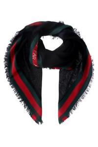 Caricamento dell immagine in corso Gucci-Shemen-Ape-Nero-Verde-Rosso-Lana- Sciarpa- 505481e802ad