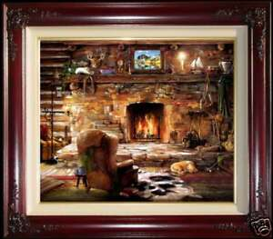 Marty-Bell-The-Sportsman-039-s-Lodge-20-034-x-24-034-S-N-Framed-Canvas-Kinkade-Inspired