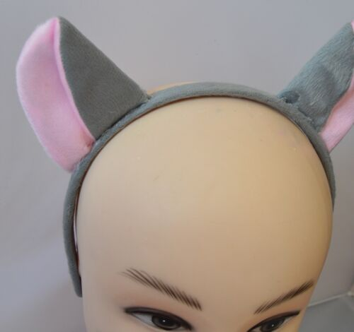 NEW  Grey turned down mouse ears aliceband party hen do fancy dress