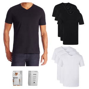 Hugo-Boss-Men-039-s-3-Pack-Regular-Fit-Pure-Cotton-V-Neck-T-Shirts