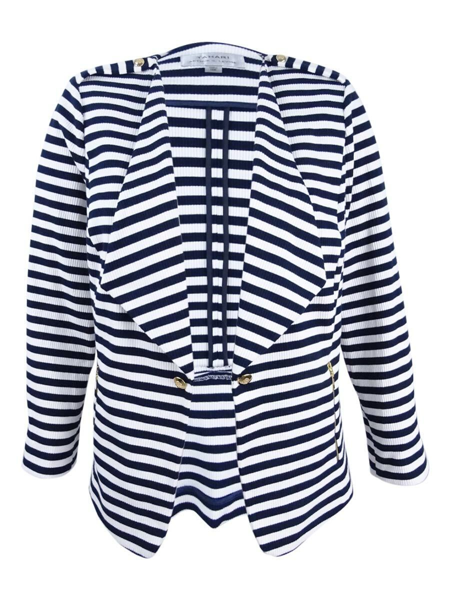 Tahari ASL Women's Plus Size Striped Wing-Collar Blazer (20W, Navy White)