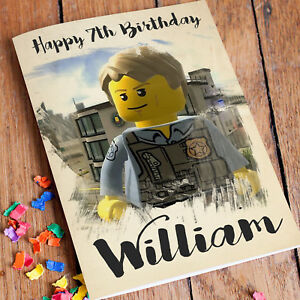 Image Is Loading LEGO CITY Personalised Birthday Card FREE Shipping Son