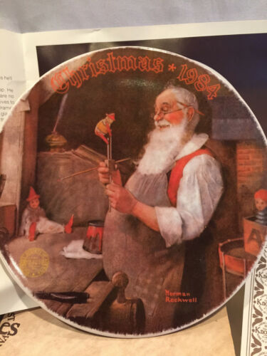 Classic 1984 Norman Rockwell Santa in His Workshop Collector Plate #12319B In Bx