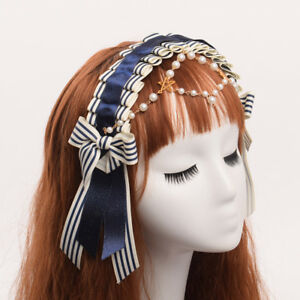 Lolita-Girls-039-Navy-Sailor-Striped-Beading-Bowknot-Hair-Band-Hair-Clip-Brooch