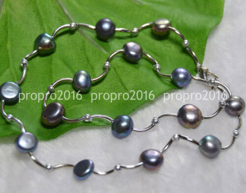 "16/' /""véritable naturel 8-9 mm Noir Baroque Freshwater Pearl Fashion Colliers PN896"