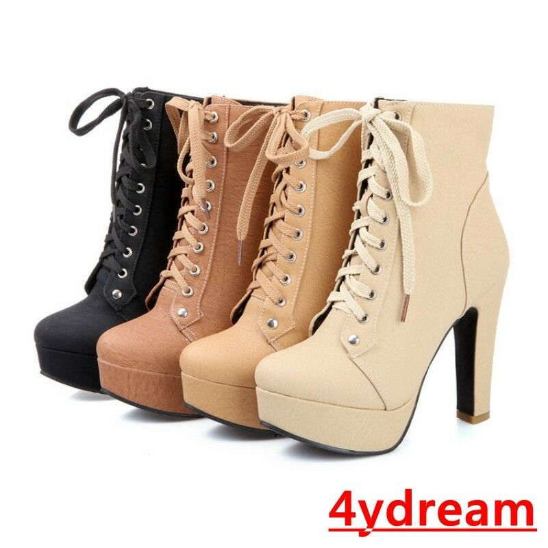 Hot Womens Ladies Platform Ankle Boots Block High Heels Lace up Knight Shoes