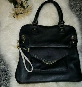 Steve Madden Large Black Faux Leather Satchel Tote Bag Handbag Gold Hardware