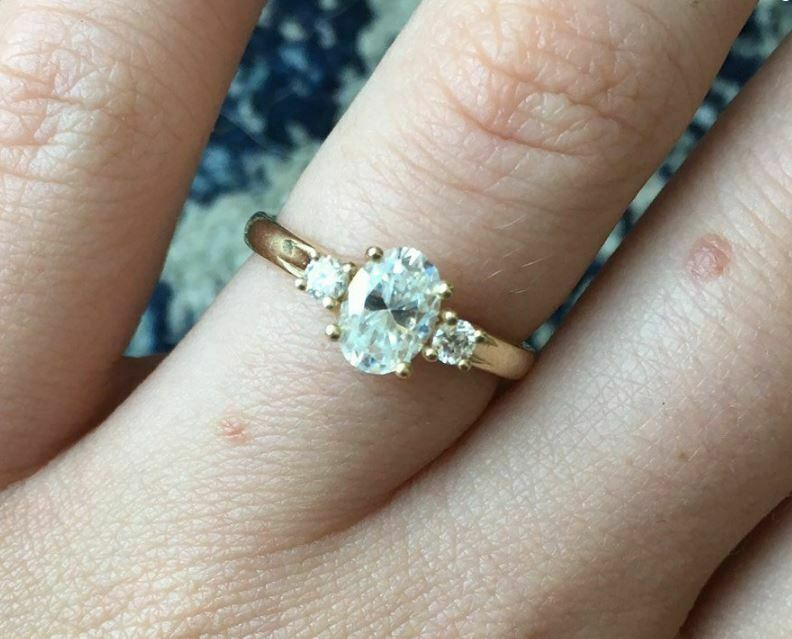7x5mm Oval Cut Moissanite Unique 3Stone Engagement Ring Set Over 14k Yellow gold