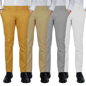 Pantalone-Uomo-Chino-Slim-fit-Primaverile-tasca-america-Bianco-Grigio-Senape-Bei