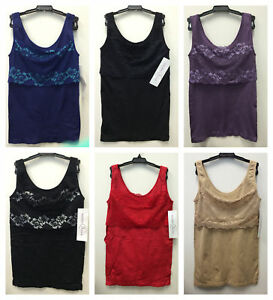 Rhonda Shear Lace-Overlay Tank with Shelf Bra 2-pack in Black//Red SZ 2X New Tags