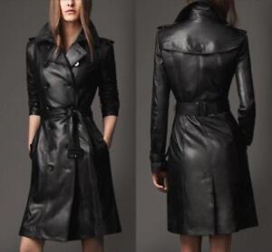 rodilla cinturᄄᆴn con de Mid larga Negro cuero Trench Para Coat Chaqueta Parka mujer Dama de nSwpwqPTO