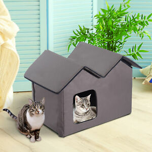 Outdoor Electric Heated Kitty Cat House Bed Waterproof