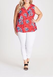 Plus-Size-Autograph-Red-Floral-Sleeveless-Pleat-Front-Top-Size-14-Free-Post