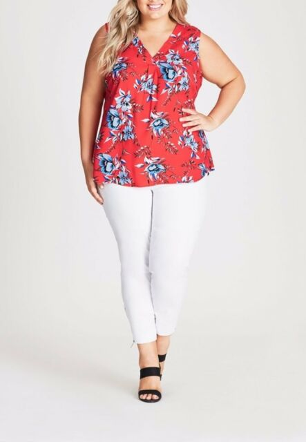 Plus Size Autograph Red Floral Sleeveless - Pleat Front Top Size 26 Free Post