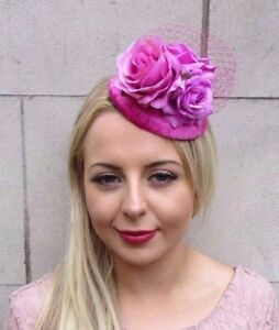 Magenta Hot Pink Rose Flower Fascinator Hat Races Floral Hair