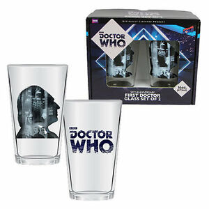 Doctor Who Anniversary First Doctor 16 oz. Glass Set of 2 NEW!