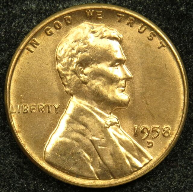 1958 D Uncirculated Lincoln Wheat Cent Penny BU (B03)