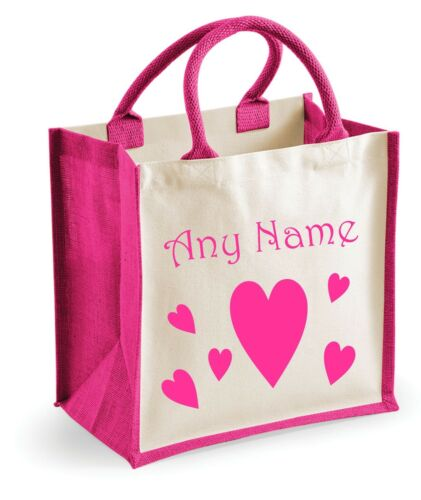 Personalised HEART//HEARTS Girls Pink Shopping//Holiday//Beach//Toy//School Jute Bag