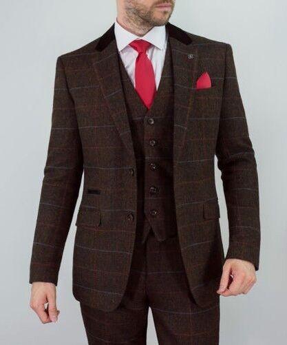 Hommes Costume Mélange Laine Tweed Costume Hommes 3 Pièces Cavani Blazer Gilet Pantalon c11ed6