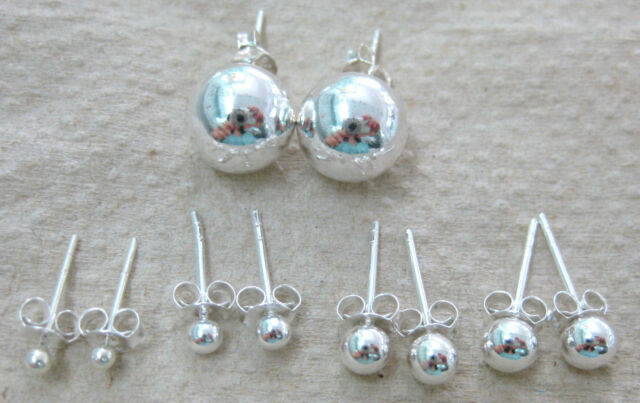 """100% REAL 925 STERLING SILVER """"BALL""""studs EARRINGS 2mm to 10mm - TEEN BOY GIRL"""