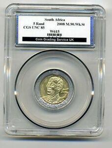 CGS-Graded-South-Africa-Mandela-R5-Coin-2008-Mint-Error-Weak-Strike-Error