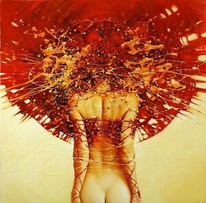 Abstract-Print-Girl-Back-Oil-painting-Art-Giclee-Printed-on-canvas-16-034-X16-034-P013