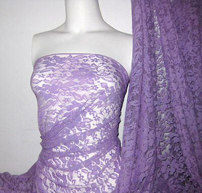 Plum 4 way stretch lace Fabric
