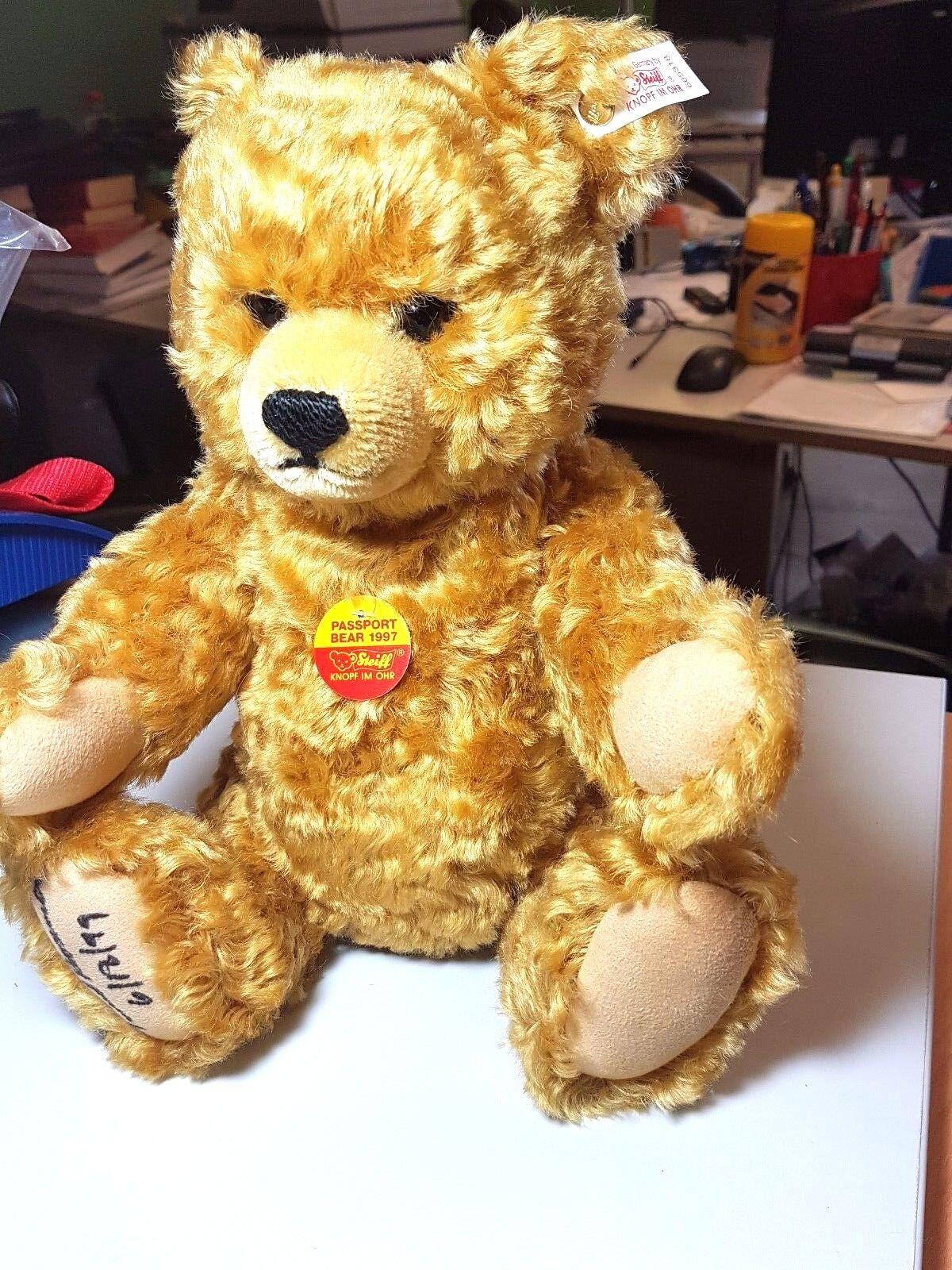 Steiff teddy mit Passport + Koffer 665318 Brummstimme USA Limitiert wie NEU OVP