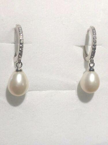 Kate Middleton Genuine Pearl /& Diamond Sterling Silver Hoop Earrings