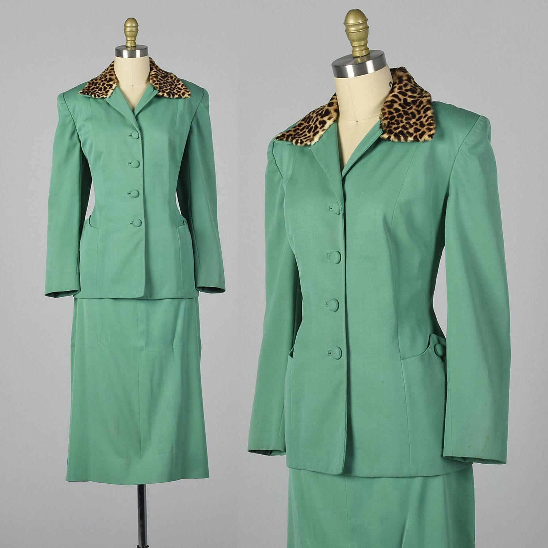 verde mediano  1950s Falda Traje Leopardo Collar Vintage 50s Pin Up Cheetah Vintage  promociones de descuento