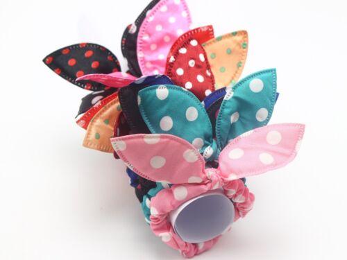 10 Mixed Color Rabbit Bunny Ears Polka Dot Elastic Scrunchie Hair bands Ponytail