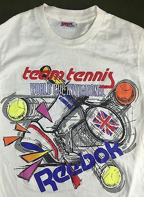 Vintage Mens S/M 80s Reebok Team Tennis World Cup Invitational Sports T-Shirt