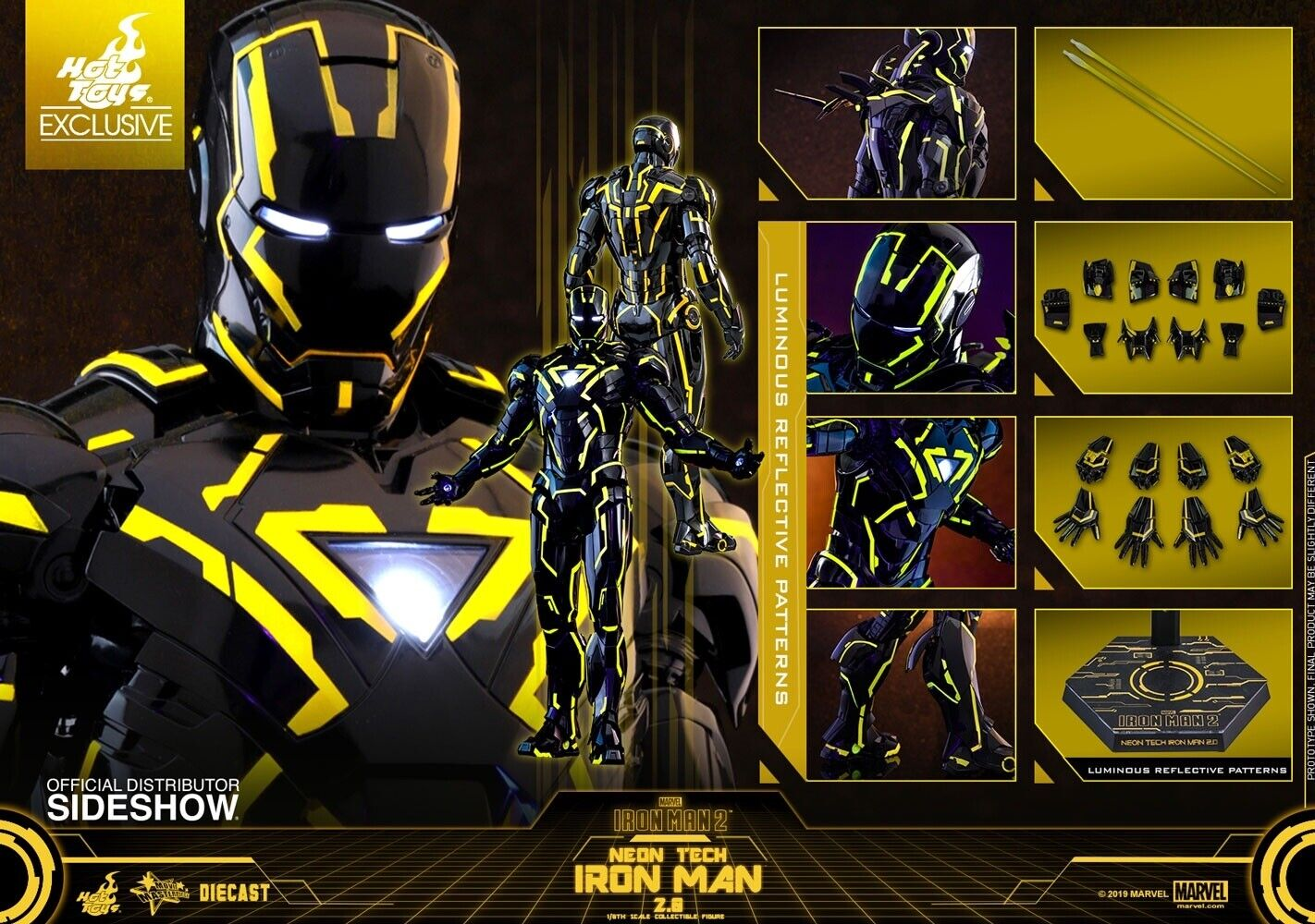 minoristas en línea San Diego comic-con comic-con comic-con 2019 Hot Juguetes Neón Tech Iron Man 2.0 Comic Con Exclusive  descuento online