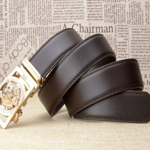 Men/'s Belts Gold//Silver  Wolves Head Automatic Buckle Flux Leather Strap Belts