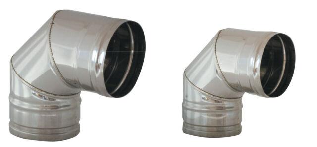 curva gomito curva a 90° Ø 12 cm 120 mm in acciaio inox per stufe a legna e pell