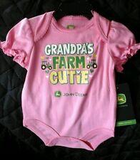 "John Deere  baby pink one piece onesy ""Grandpa's Farm Cutie"" 12M JSB114PN"