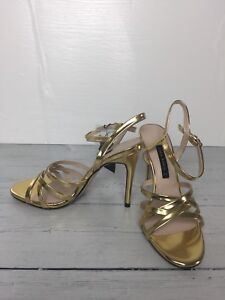 d480aea87dc3f4 Image is loading Zara-Gold-Strappy-Sandals-Shoes-Size-6-36