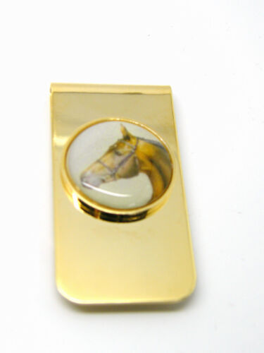 MONEY CLIP HORSE HEAD RACING PONY LUCK SPORT NOVELTY BADGE GIFT IN POUCH