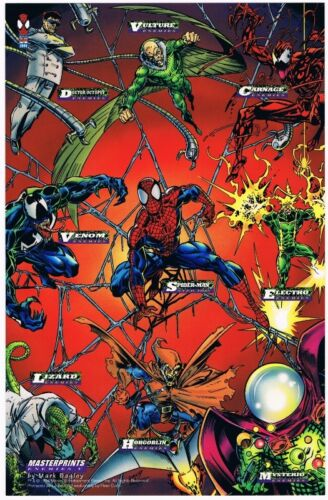1994 Fleer Marvel Cards Masterprints Enemies V Amazing SpiderMan Promo Sheet