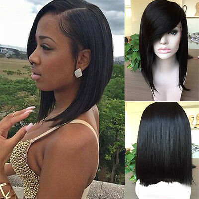 """8-16"""" Lace Front Wig/Full Lace Wig Brazilian Human Hair Silky Straight Side Bang"""