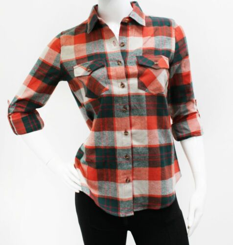 Women Soft Cotton Plaid Shirt with 2 Front Pockets Khaki//Gray