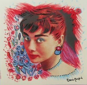 MARIA-MURGIA-034-Audrey-Hepburn-034-CM-30X30-pezzo-unico-dipinto-su-cartoncino-avorio