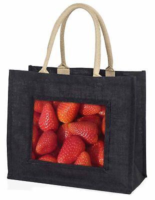 Erdbeeren Aufdruck große schwarze Einkaufstasche Weihnachten