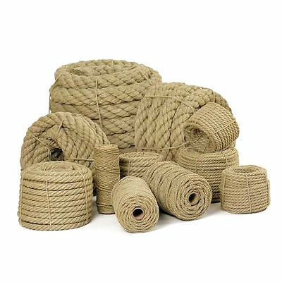 Natural Jute Rope Twisted Braided Decking Garden Boating Sash 6-60mm up to  500m