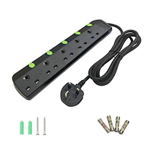 anhoyo Extension Lead With Individual Switches 1.8M 5 Gang Black Wall Mounted