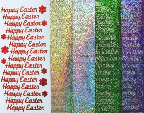 Holographic Shimmer HAPPY EASTER PEEL OFF STICKERS Flowers Cardmaking