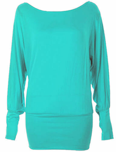 NEW WOMEN/'S ONE-OFF SHOULDER BATWING LONG SLEEVE T-SHIRT BAGGY TOP IN ALL SIZES